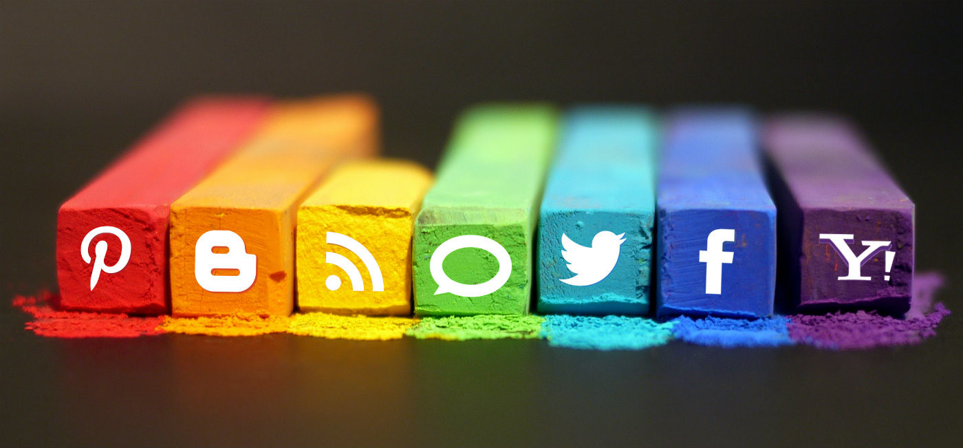 Social media platform logos in pastel
