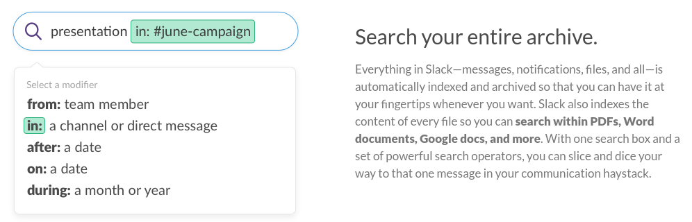 Slack app search