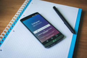 Instagram mobile app on notebook