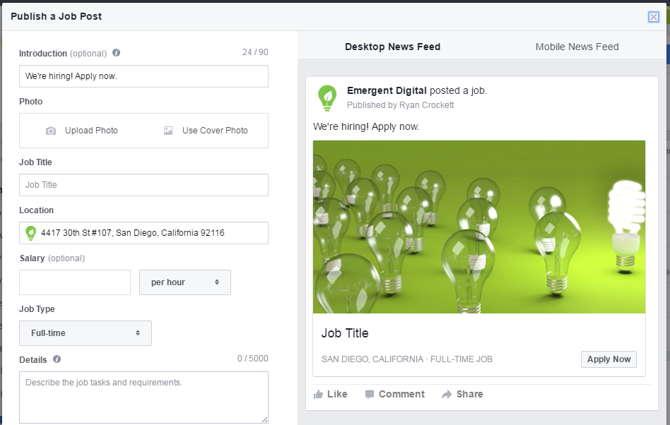 Social media Trends: Facebook Jobs